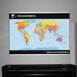 Mapa świata z Twoim LOGO oprawiona w aluminiowe ramy